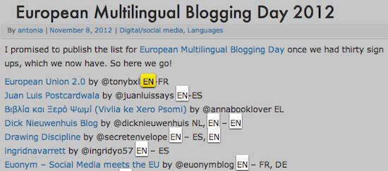 Journée européenne du blogging multilingue 2012